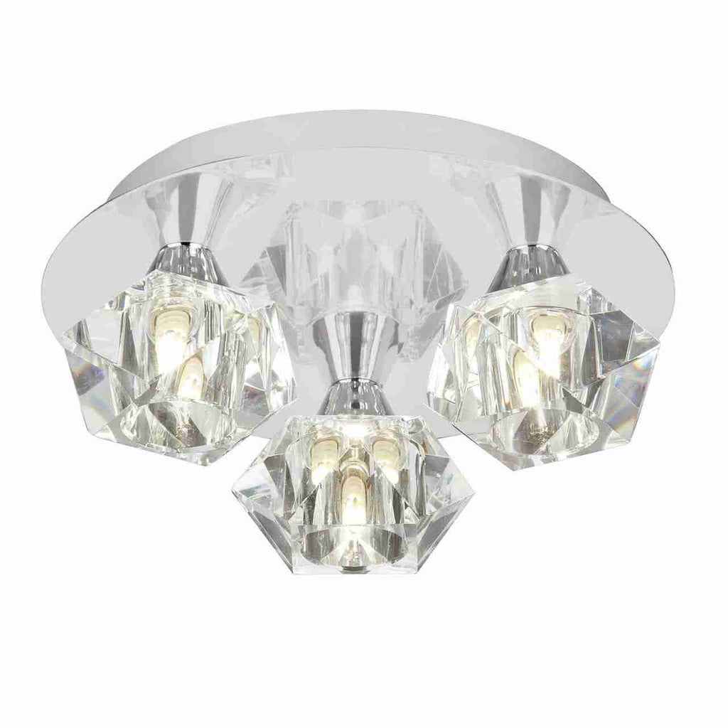 Endon Lighting ARIETTA-3PCH Arietta 3lt Flush 33W Chrome Effect Plate & Clear Glass-Endon Lighting-DC Lighting Ltd