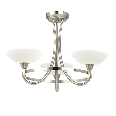 Endon Lighting CAGNEY-3SC Cagney 3lt Semi Flush 33W Satin Chrome Effect Plate & White Painted Glass With Faint Line Pattern