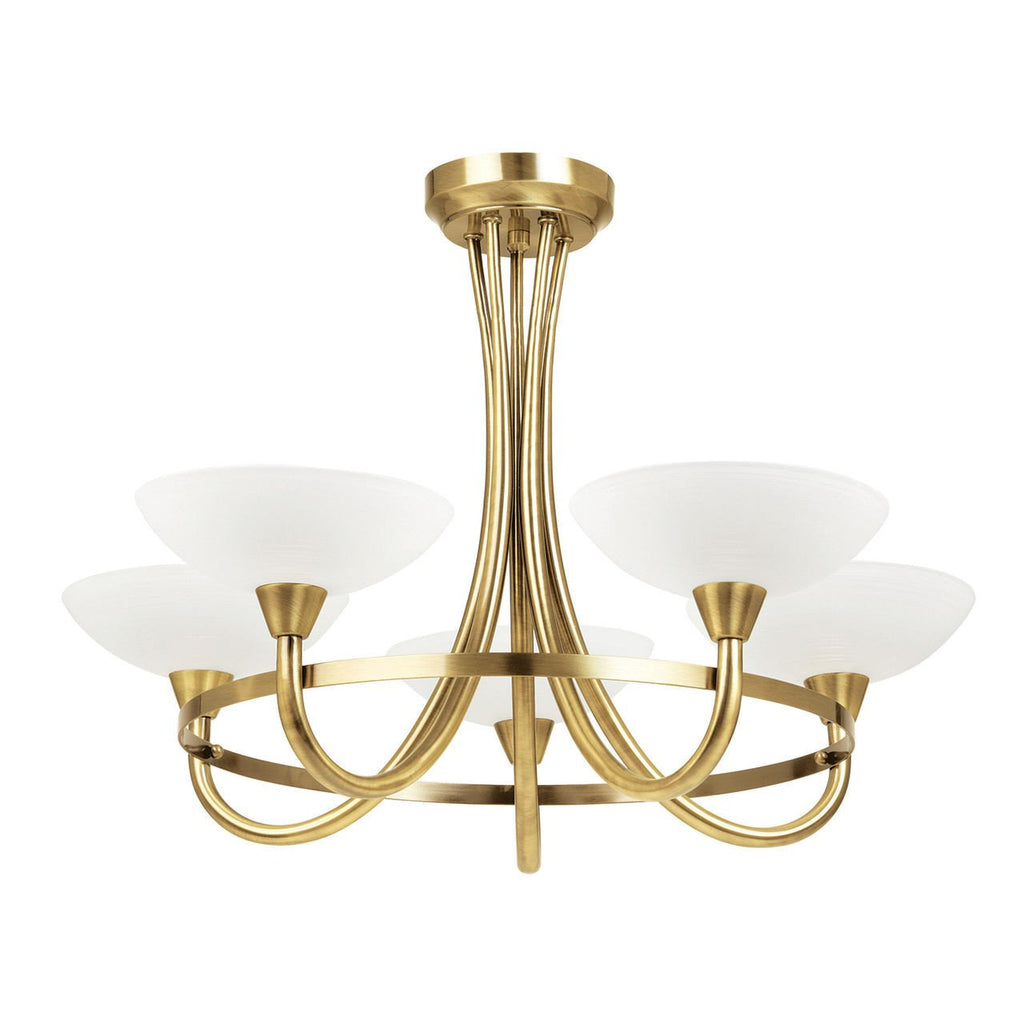 Endon Lighting CAGNEY-5AB Cagney 5lt Semi Flush 33W Antique Brass Effect Plate & White Painted Glass With Faint Line Pattern-DC Lighting Ltd