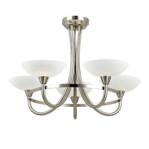Endon Lighting CAGNEY-5SC Cagney 5lt Semi Flush 33W Satin Chrome Effect Plate & White Painted Glass With Faint Line Pattern