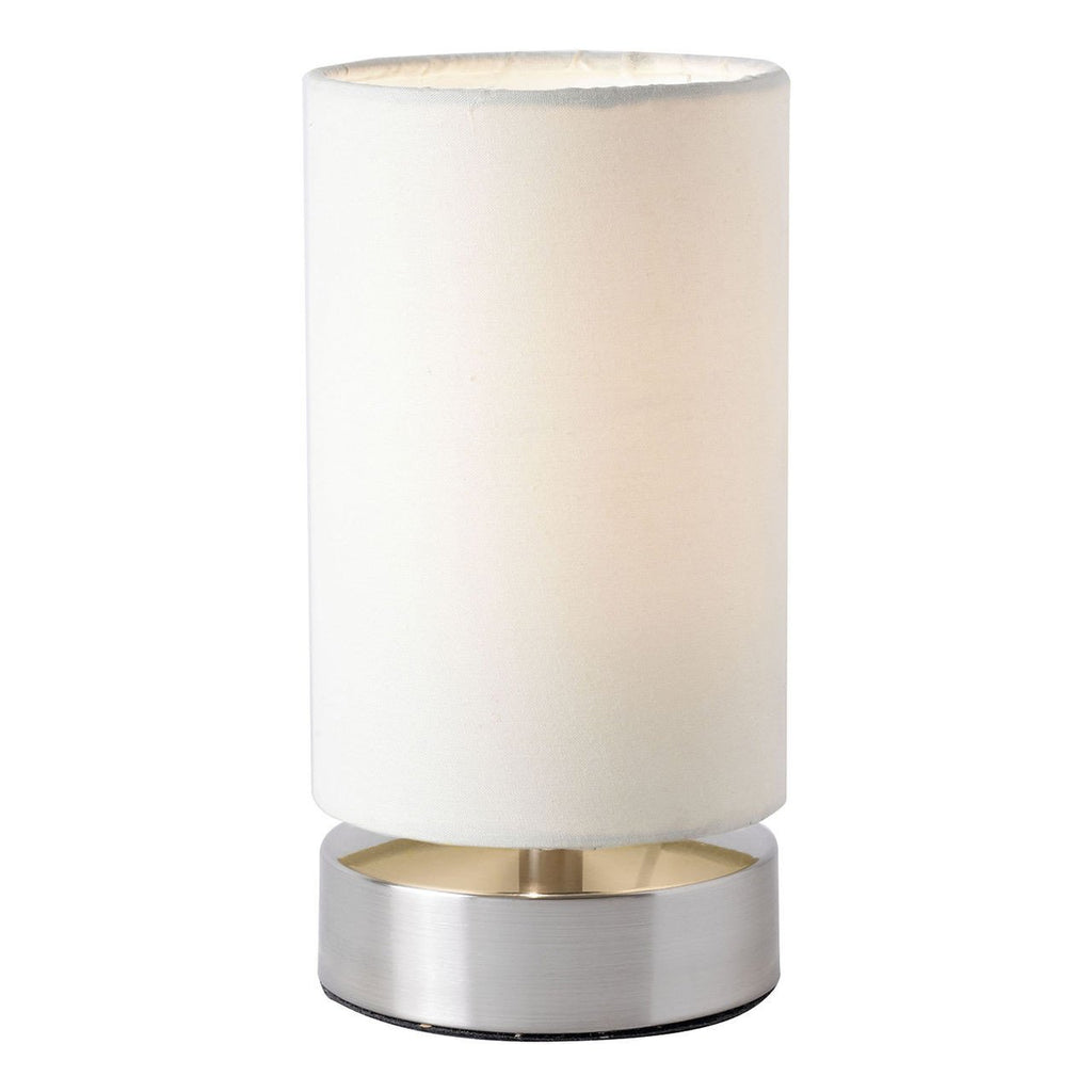 Endon Lighting COLLIERS-TLCR Colliers Touch Table Lamp Pair 40W Satin Nickel Effect Plate & Cream Fabric-DC Lighting Ltd