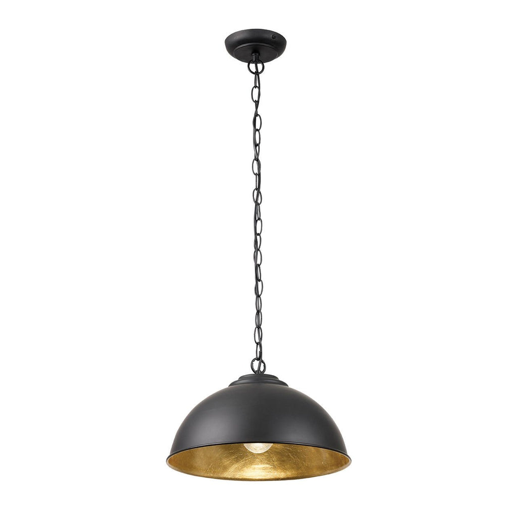 Endon Lighting COLMAN-BL Colman 1lt Pendant 60W Matt Black & Gold Leaf-Endon Lighting-DC Lighting Ltd