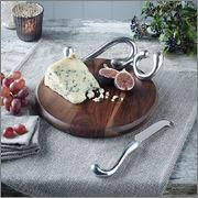 Endon Lighting EH-FERENZA Sheesham Wood Cheese Board And Aluminium Knife Set