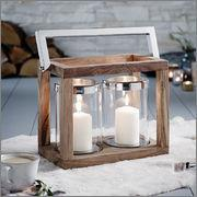 Endon Lighting EH-FOLEY Wooden Lantern With Stainless Steel Handle