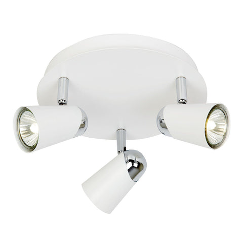 Endon Lighting EL-10083 Civic 3lt Round 50W Matt White Paint & Chrome Effect Plate