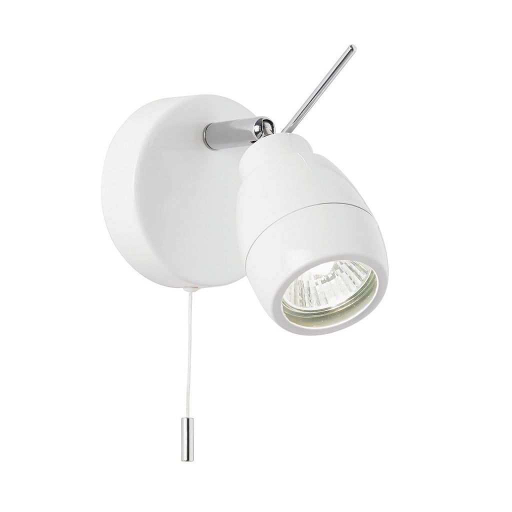 Endon Lighting EL-20093 Travis 1lt Plate IP44 28W Matt White Paint & Clear Glass-Endon Lighting-DC Lighting Ltd