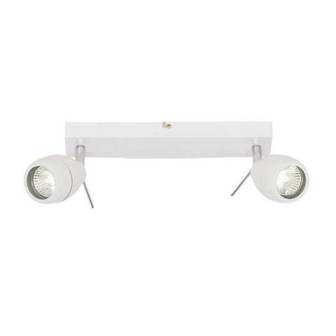 Endon Lighting EL-20094 Travis 2lt Plate IP44 28W Matt White Paint & Clear Glass