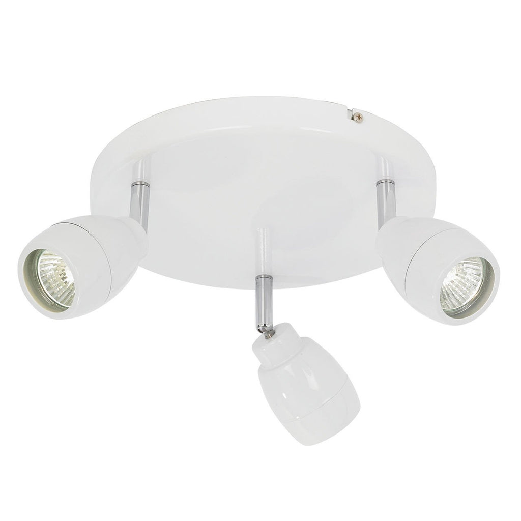 Endon Lighting EL-20095 Travis 3lt Round IP44 28W Matt White Paint & Clear Glass-Endon Lighting-DC Lighting Ltd