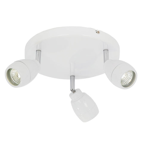 Endon Lighting EL-20095 Travis 3lt Round IP44 28W Matt White Paint & Clear Glass
