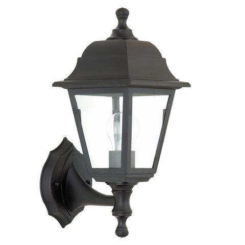 Endon Lighting EL-40042 Pimlico 1lt Wall Light IP44 60W Black Polypropylene & Clear Glass
