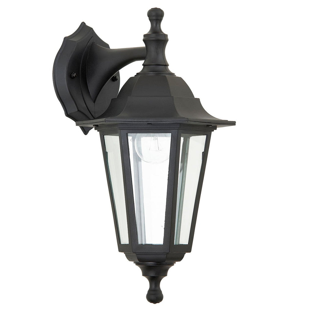 Endon Lighting EL-40045 Bayswater 1lt Wall Light IP44 60W Black Polypropylene & Clear Glass-DC Lighting Ltd