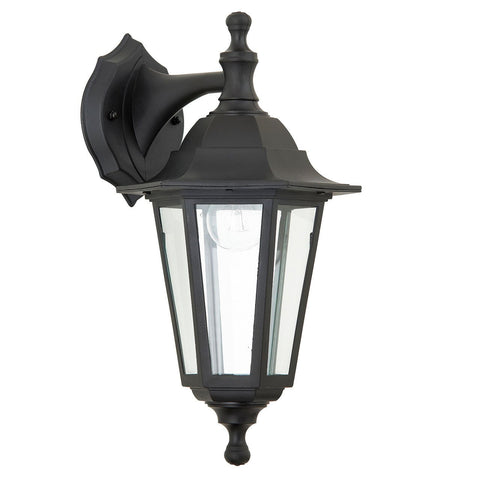 Endon Lighting EL-40045 Bayswater 1lt Wall Light IP44 60W Black Polypropylene & Clear Glass