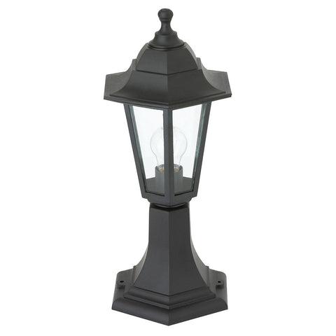 Endon Lighting EL-40046 Bayswater Post IP44 60W Black Polypropylene & Clear Glass