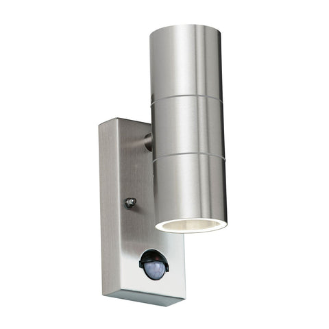 Endon Lighting EL-40062 Canon PIR 2lt Wall Light IP44 35W Polished Stainless Steel & Clear Glass