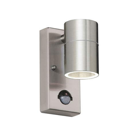 Endon Lighting EL-40063 Canon PIR 1lt Wall Light IP44 35W Polished Stainless Steel & Clear Glass