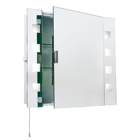 Endon Lighting EL-MILOS Milos Shaver Cabinet Mirror HF IP44 15W Mirrored & Acid Etched Glass