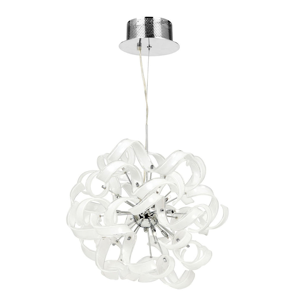 Endon Lighting FONDA-9WH Fonda 9lt Pendant 20W Gloss White Glass & Chrome Effect Plate-DC Lighting Ltd