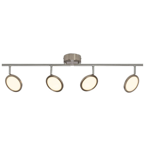 Endon Lighting G3053213 Pluto 4lt Bar 5W Satin Nickel Effect Plate & Opal Plastic