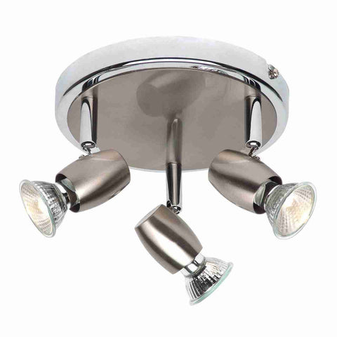 Endon Lighting G5503477 Palermo 3lt Round 50W Brushed Chrome Effect & Chrome Effect Plate