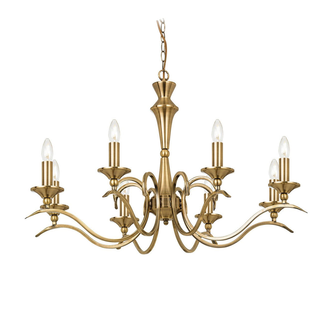 Endon Lighting KORA-8AB Kora 8lt Pendant 40W Antique Brass Effect Plate-DC Lighting Ltd