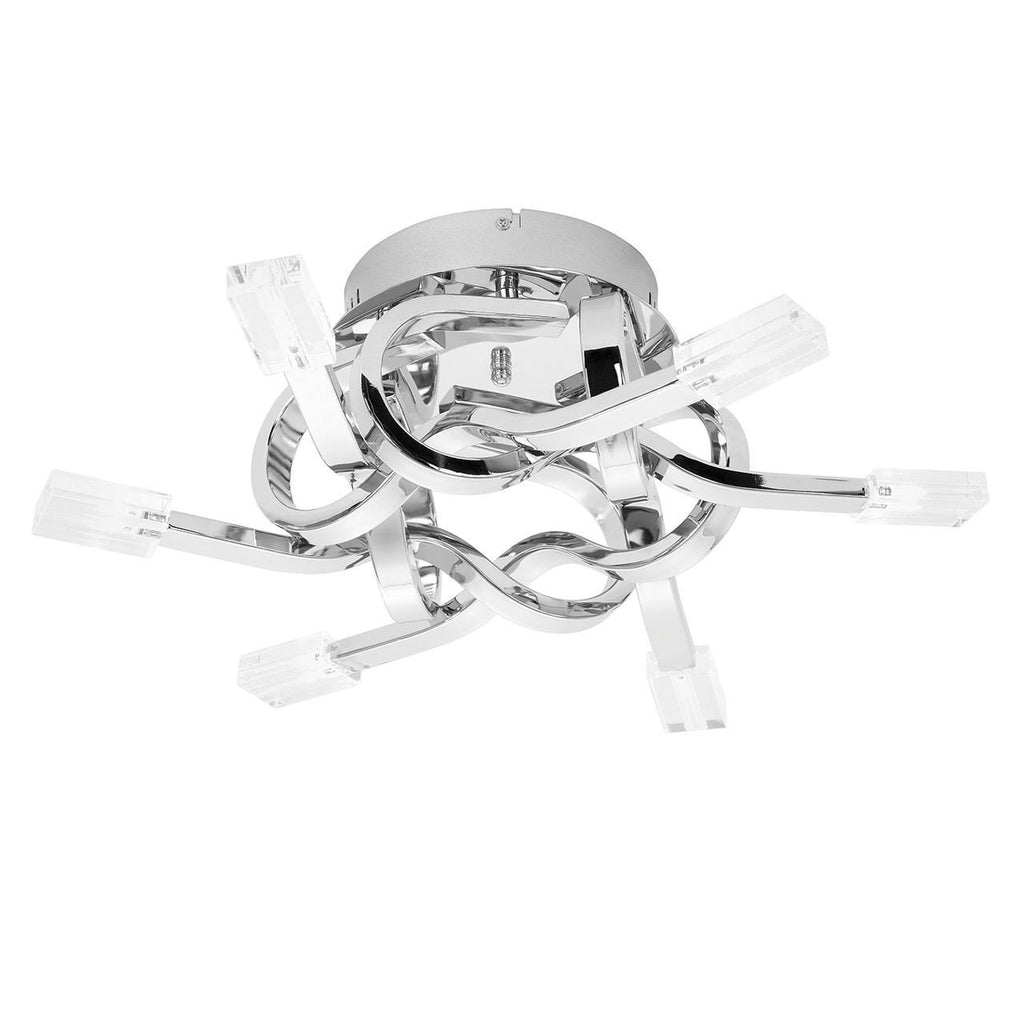 Endon Lighting LEONI-6CH Leoni 6lt Semi Flush 10W Chrome Effect Plate & Clear Glass-Endon Lighting-DC Lighting Ltd