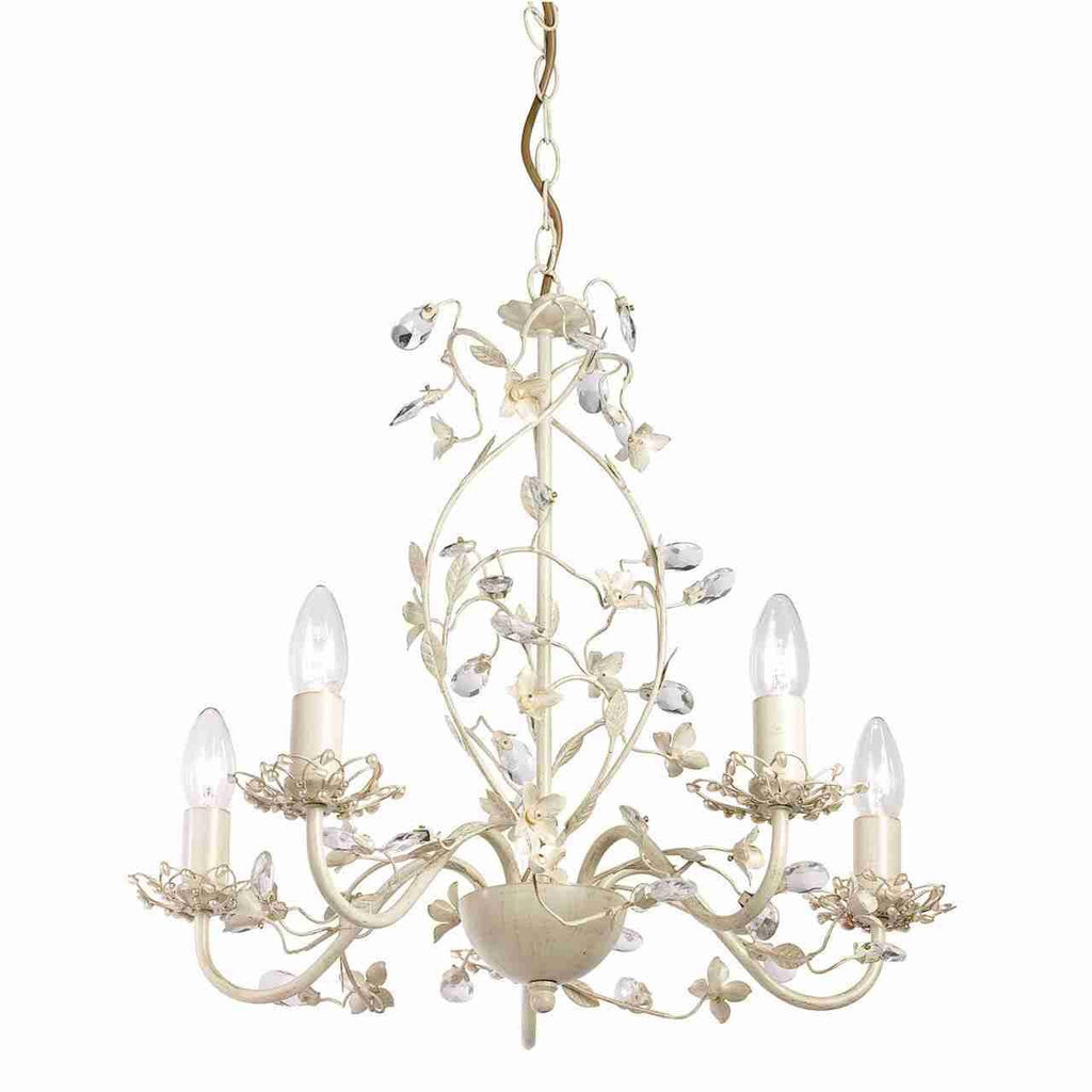 Endon Lighting LULLABY-5CR Lullaby 5lt Pendant 60W Cream With Brushed Gold Effect Paint & Clear And Pearl Effect Acrylic-DC Lighting Ltd