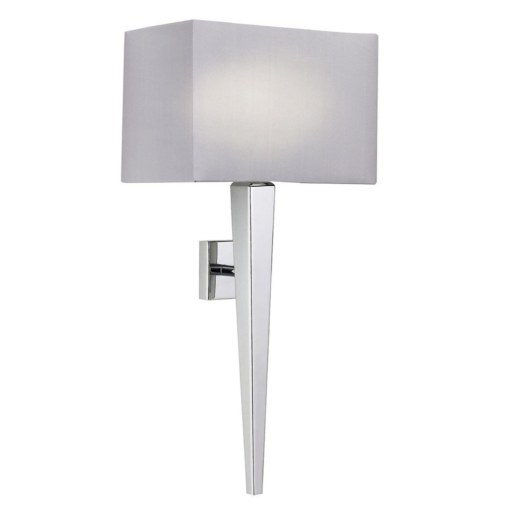 Endon Lighting MORETO-1WBCH Moreto 1lt Wall Light 60W Chrome Effect Plate & Grey Faux Silk-Endon Lighting-DC Lighting Ltd