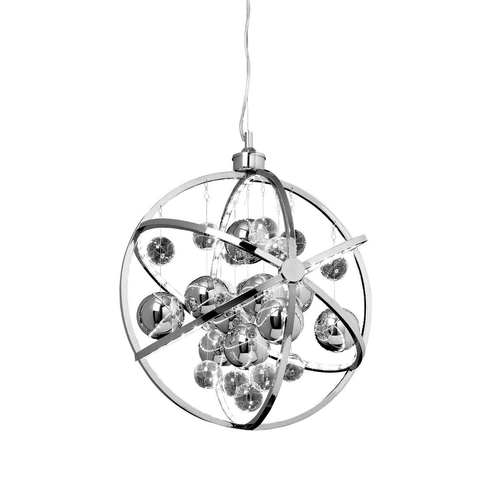 Endon Lighting MUNI-CH Muni 480mm Pendant 10W Chrome Effect Plate With Clear & Chrome Glass Balls-DC Lighting Ltd