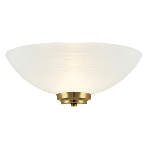 Endon Lighting WELLES-1WBAB Welles 1lt Wall Light 60W White Painted Glass With Faint Line Pattern & Antique Brass Effect Plate