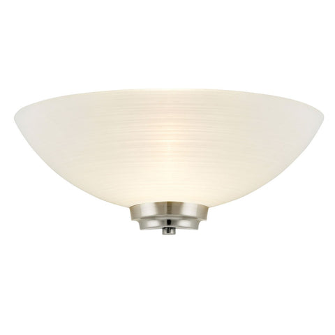 Endon Lighting WELLES-1WBSC Welles 1lt Wall Light 60W White Painted Glass With Faint Line Pattern & Satin Chrome Effect Plate