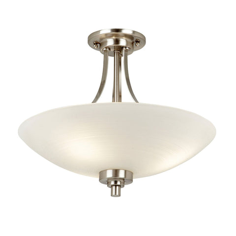 Endon Lighting WELLES-3SC Welles 3lt Semi Flush 60W White Painted Glass With Faint Line Pattern & Satin Chrome Effect Plate