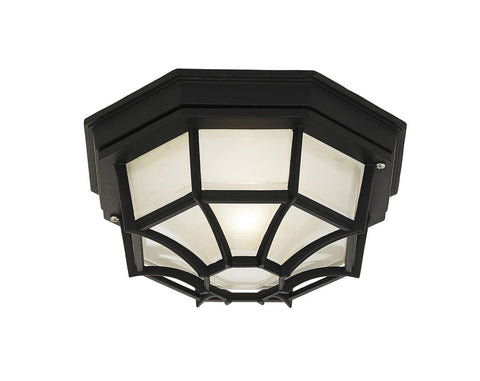 Endon Lighting YG-0100-BL Parkway 1lt Flush IP44 60W Matt Black & Frosted Glass