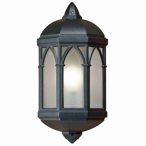 Endon Lighting YG-065-BL Brighton Half Lantern IP44 60W Matt Black & Frosted Polycarbonate