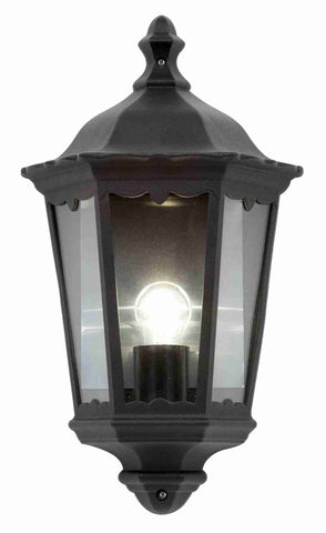 Endon Lighting YG-3002 Burford Half Lantern IP44 60W Matt Black & Clear Glass
