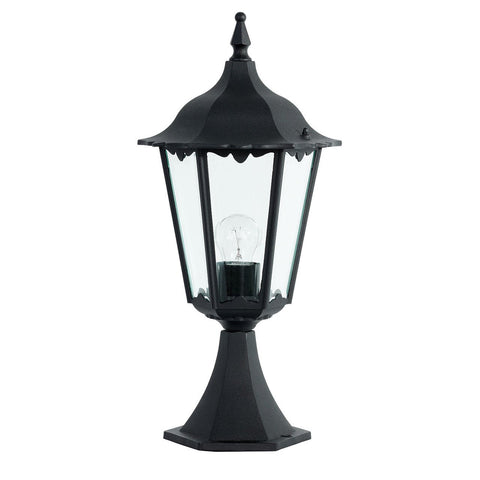Endon Lighting YG-3006 Burford Post IP44 60W Matt Black & Clear Glass