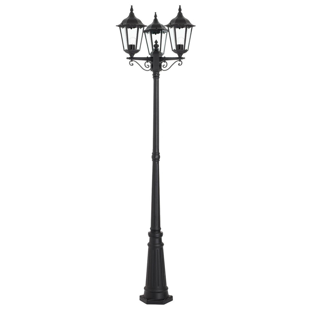 Endon Lighting YG-3012 Burford Lamp Post IP44 60W Matt Black & Clear Glass-DC Lighting Ltd