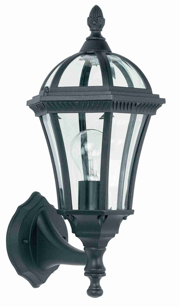 Endon Lighting YG-3500 Drayton Uplight 1lt Wall Light IP44 60W Textured Black Paint & Clear Glass-Endon Lighting-DC Lighting Ltd