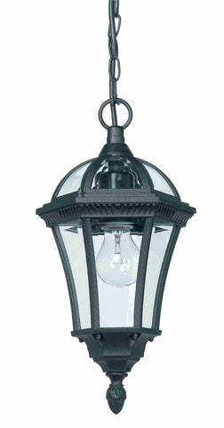 Endon Lighting YG-3503 Drayton 1lt Pendant IP44 60W Textured Black Paint & Clear Glass