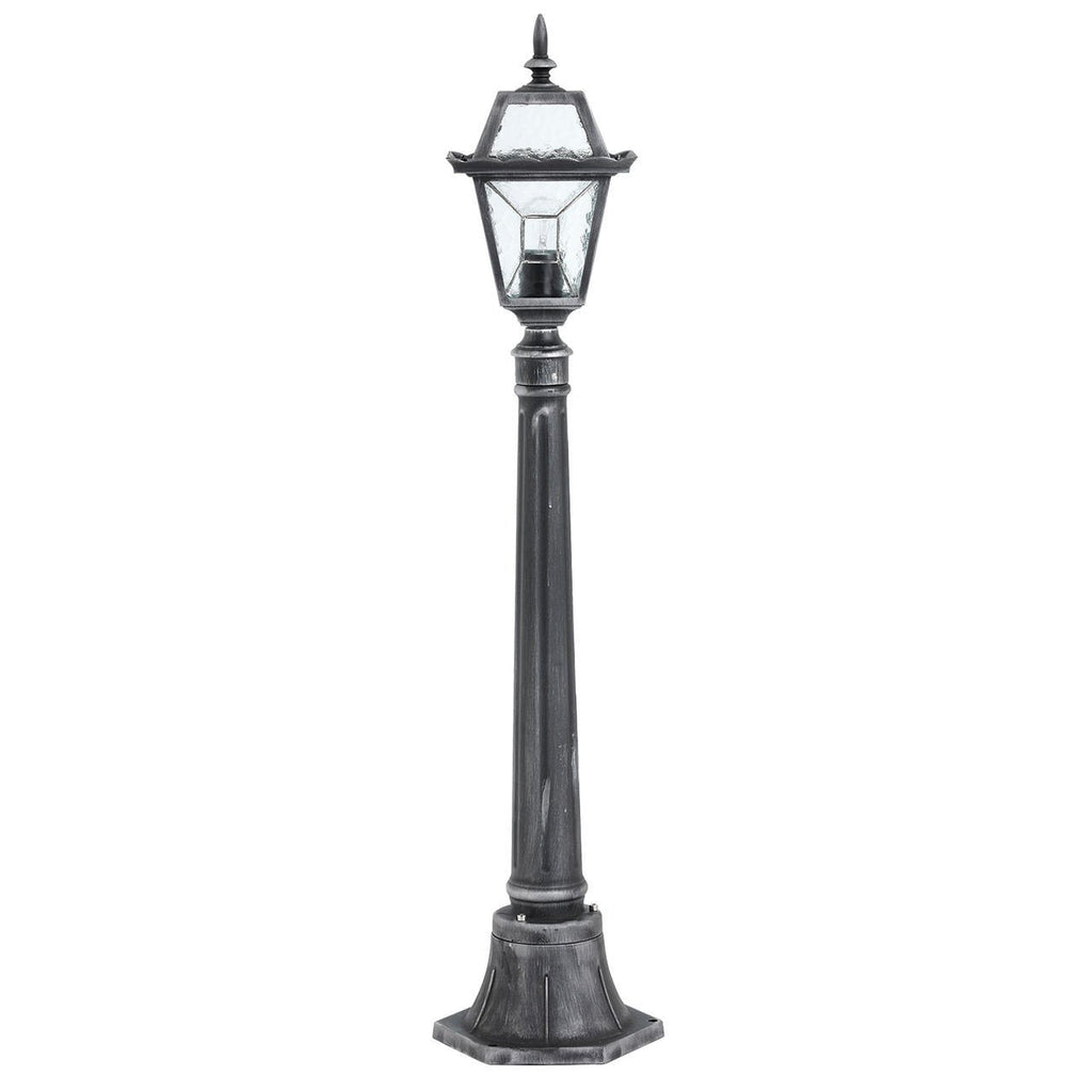 Endon Lighting YG-4502 Riverdale Bollard IP44 60W Black Brushed Silver Effect Paint & Clear Leaded Glass-Endon Lighting-DC Lighting Ltd