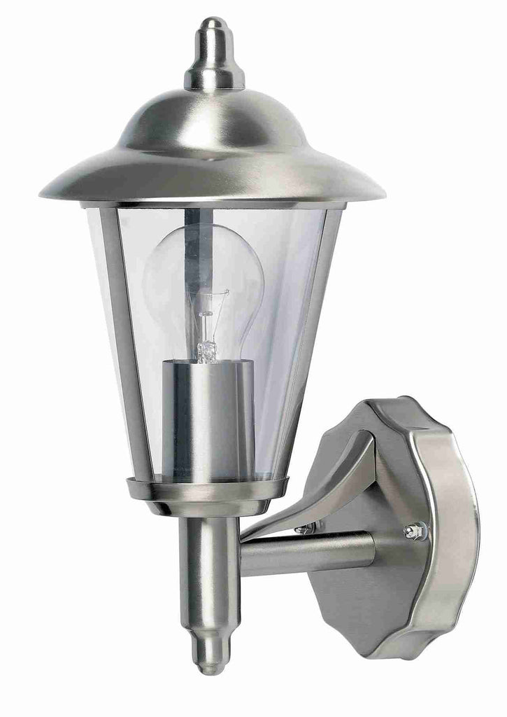 Endon Lighting YG-862-SS Klien Uplight 1lt Wall Light IP44 60W Polished Stainless Steel & Clear Polycarbonate-Endon Lighting-DC Lighting Ltd