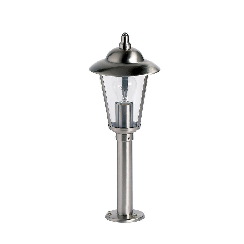 Endon Lighting YG-863-SS Klien Post IP44 60W Polished Stainless Steel & Clear Polycarbonate-DC Lighting Ltd