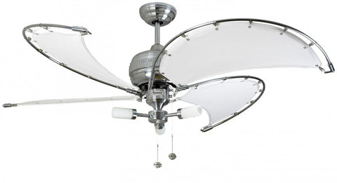 "Fantasia Spinnaker Stainless Steel Fan With Sparta Light & Canvas Blades Available In 40"" or 52"""