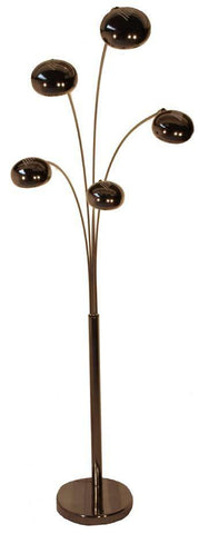 Fiver Lounge 5 Black Chrome Arc Floor Lamp