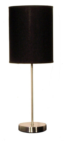 Flow Table Lamp In Satin Chrome With Shade Available in 17 Colours