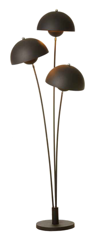 Fortune Black Mushroom Floor Lamp With Gold Interior