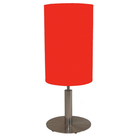 Galla Table Lamp In Satin Chrome Finish With A Tall Circular Shade