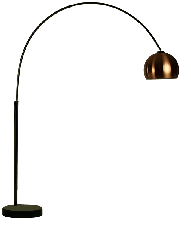 Goliath lounge 1 black chrome arc floor lamp with metal shade