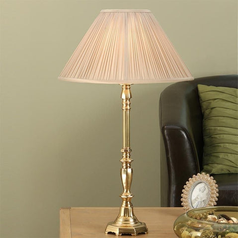 Interiors 1900 ABY1002AB + MAT14OYS Asquith Brass Table Lamp With Oyster Pleated Shade
