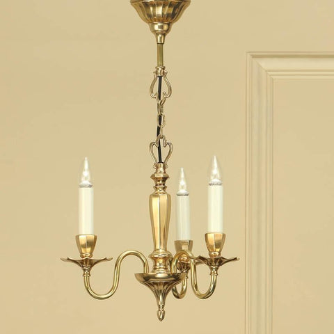 Interiors 1900 ABY1002P3 Asquith Solid Brass 3 Lt Chandelier