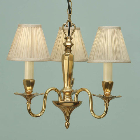 Interiors 1900 ABY1002P3 + CA1SHB x 3 Asquith Solid Brass 3 Lt Chandelier, Beige Shade